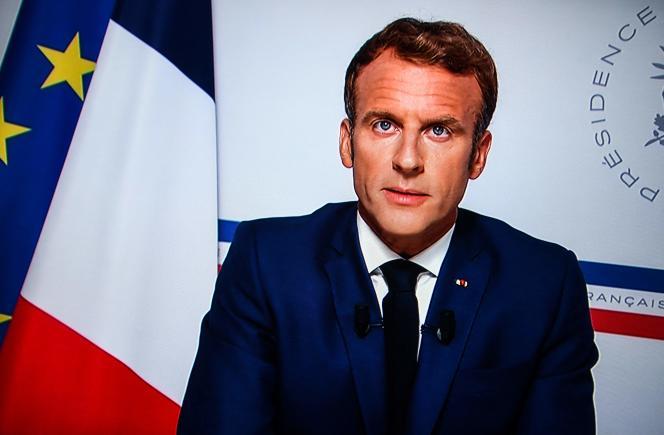 Emmanuel Macron lors de son allocution à propos de la crise politique en Afghanistan, lundi 16août.