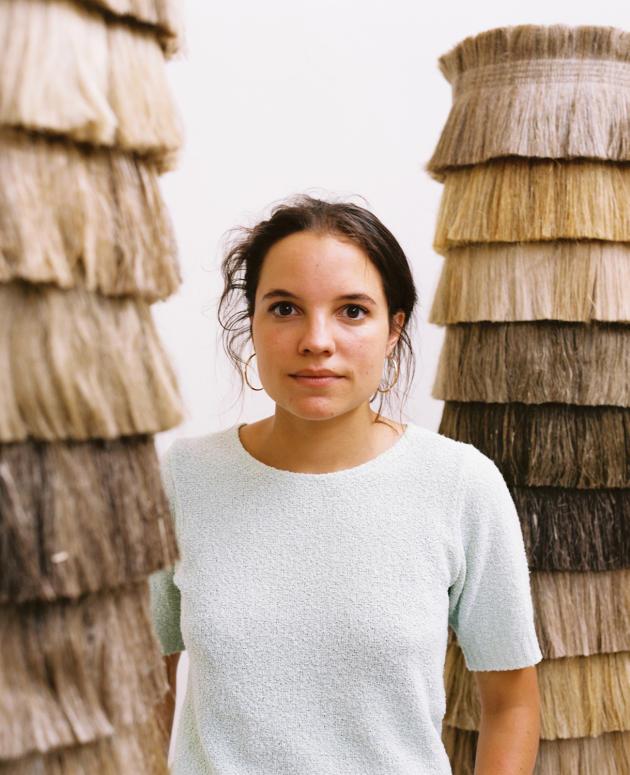 Pauline Esparon dans son atelier, installé dans une ancienne usine de papier à Sorel-Moussel, en Eure-et-Loir, le 30juillet 2021.