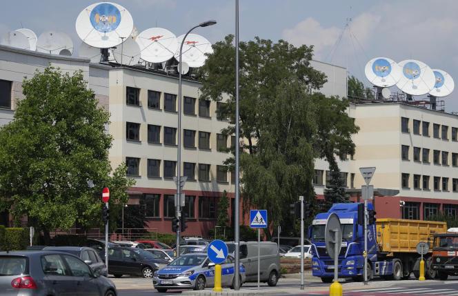 Le siège de la chaîne de télévision polonaise TVN, le 8 juillet 2021, à Varsovie.
