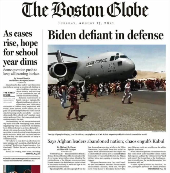 La «une» du «Boston Globe», mardi 17 août.