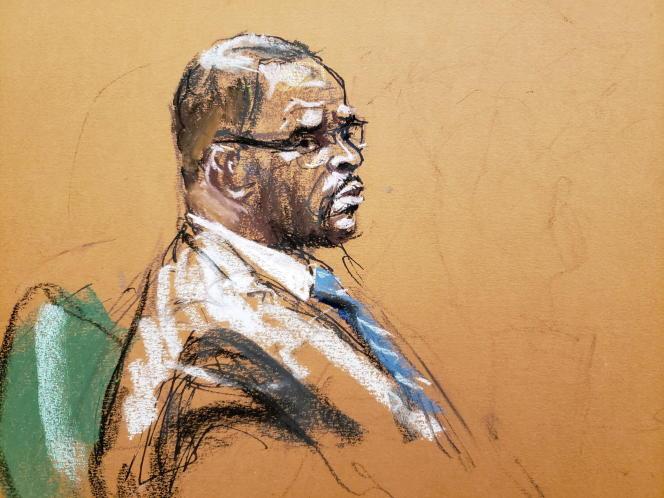 Croquis d'audience du chanteur R. Kelly, au premier jour de son procès, le 18 août 2021, à New York.