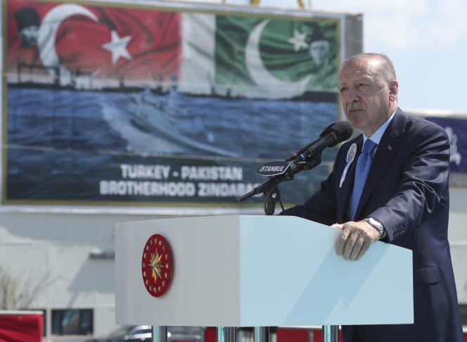 Le président turc Recep Tayyip Erdogan lors d'une cérémonie navale, le 15 août 2021 à Istanbul.