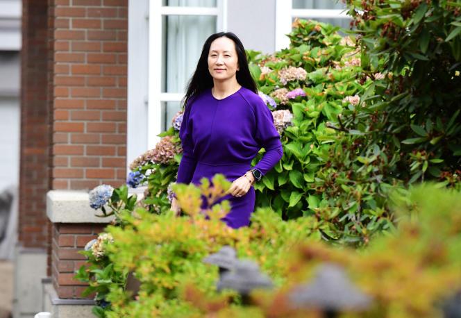 L'ex-directrice financière de Huawei, Meng Wanzhou, à son domicile de Vancouver, le 18 août 2021.