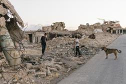 L'un des quartiers de Sinjar, en Irak, le 3 août, ville reprise à l'organisation Etat islamique fin 2015.
