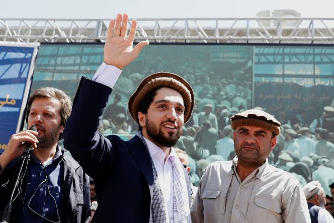 Ahmed Masood walks into a crowd on September 5, 2019, during a rally in Bazaar, Afghanistan.