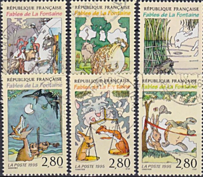 Timbres créés parClaudine et Roland Sabatier, mis en page par Charles Bridoux, en vente en 1995.