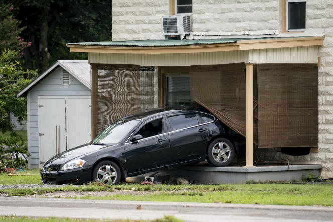 On Sunday, August 22, 2021, a car crashed into a house due to flooding in Waverley, Tennessee.