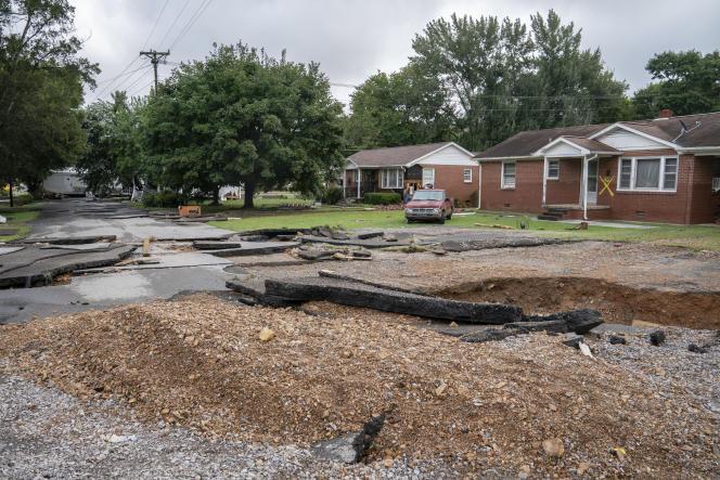 Flood damage on Simpson Avenue in Waverley, Tennessee on August 22, 2021.