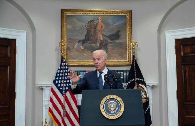 Joe Biden pada konferensi pers Gedung Putih, 22 Agustus 2021.