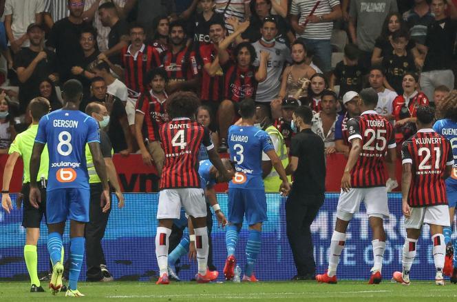 Lors du match de football opposant l'OGC Nice à l'Olympique de Marseille, le 22août2021.