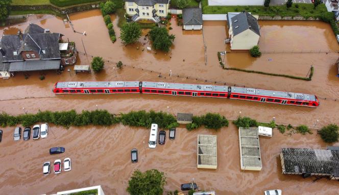 On July 15, 2021, a train sank in Kortel, Germany
