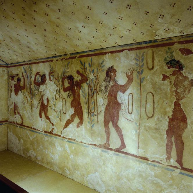Intonaco dal cimitero di Monterosi, Tarquinia, V sec. aC.  C-C.