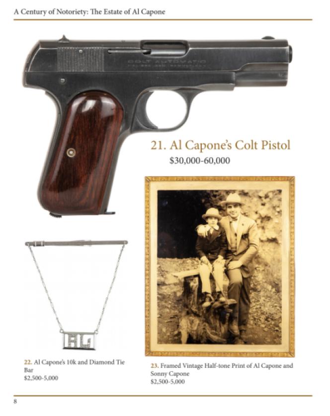 Le Colt mis aux enchères provient du patrimoine légué par la veuve d'Al Capone à leur fils unique Sonny.