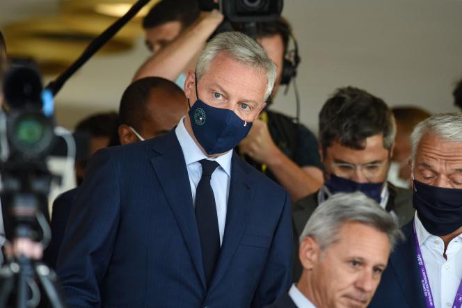 Le ministre de l'économie, des finances et de la relance, Bruno Le Maire, lors de l'université d'été du Medef, à l'hippodrome de Longchamp, le 25août2021.