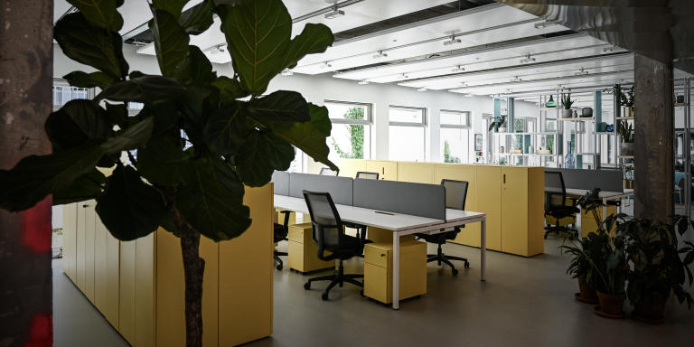 This picture taken on May 27, 2020, shows a work area in the co-working space Deskopolitan in Paris, after a partial lifting of lockdown restrictions taken to curb the spread of the COVID-19 pandemic, caused by the novel coronavirus. (Photo by Philippe LOPEZ / AFP)
