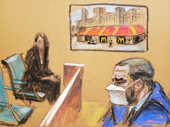 Kelly staje przed jednym ze swoich oskarżycieli, Stephanie, w sądzie federalnym na Brooklynie w Nowym Jorku, 26 sierpnia 2021 r.