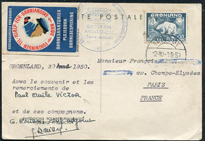 Carte de remerciement signée Paul-Emile Victor, 250 euros chez Philatélie passion.