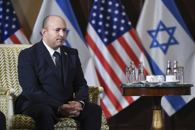 Israeli Prime Minister Naphtali Bennett during a meeting with US Secretary of State Anthony Blingen on Wednesday, August 25, 2021 at the Willard Hotel in Washington.