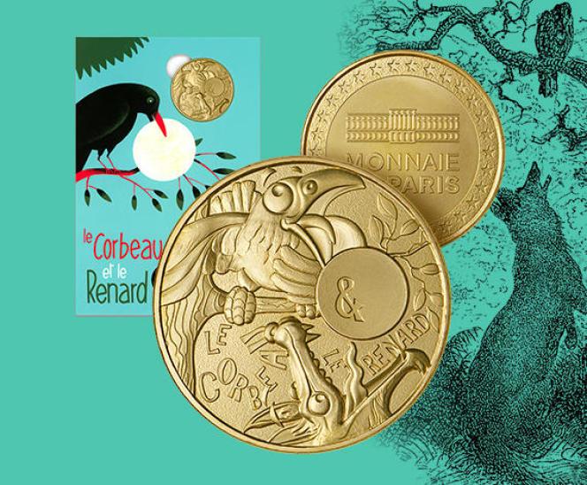 « Le Corbeau et le renard», collection de mini-médailles conditionnées dans des cartelettes exclusives de la Monnaie de Paris.