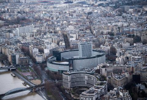 A picture taken on February 1, 2021 in Paris, shows La Maison de la Radio, the headquarters of Radio France. (Photo by Martin BUREAU / AFP)