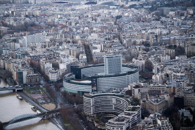 Une photo aérienne du siège de Radio France, à Paris, le 1er février 2021.