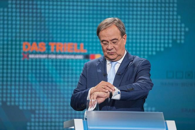 Le candidat à la chancellerie Armin Laschet (CDU-CSU), lors du débat organisé par la chaîne de télévision RTL, le 29 août 2021, à Berlin.
