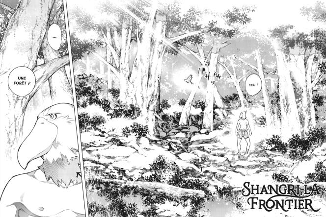 Une fois arrivé dans «Shangri-La Frontier», le jeune héros arrive à moitié nu dans une immense forêt envahie de monstres.