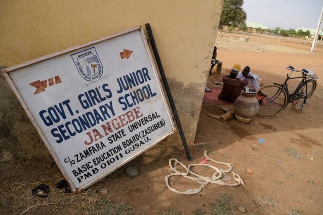 Le panneau d'une école dans l'Etat de Zamfara, au Nigeria, le 27 février 2021.