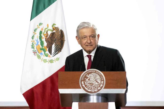El presidente mexicano Andrés Manuel López Obrador durante el tercer informe anual de su gobierno en el Palacio Nacional en la Ciudad de México el 1 de septiembre de 2021.