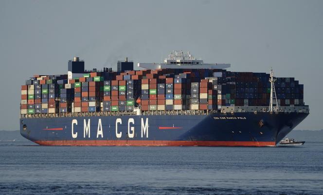 Le porte-conteneurs «Marco-Polo » du français CMA-CGM, près de NewYork, le 20 mai 2021.