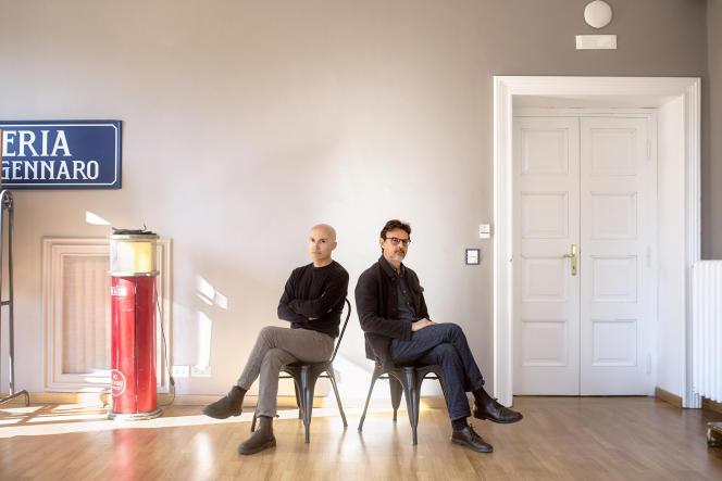 Lorenzo Mieli (à gauche), le PDG de The Apartment, et Mario Gianani, celui de Wildside, une société Fremantle, à Rome, le 4 mars 2021.