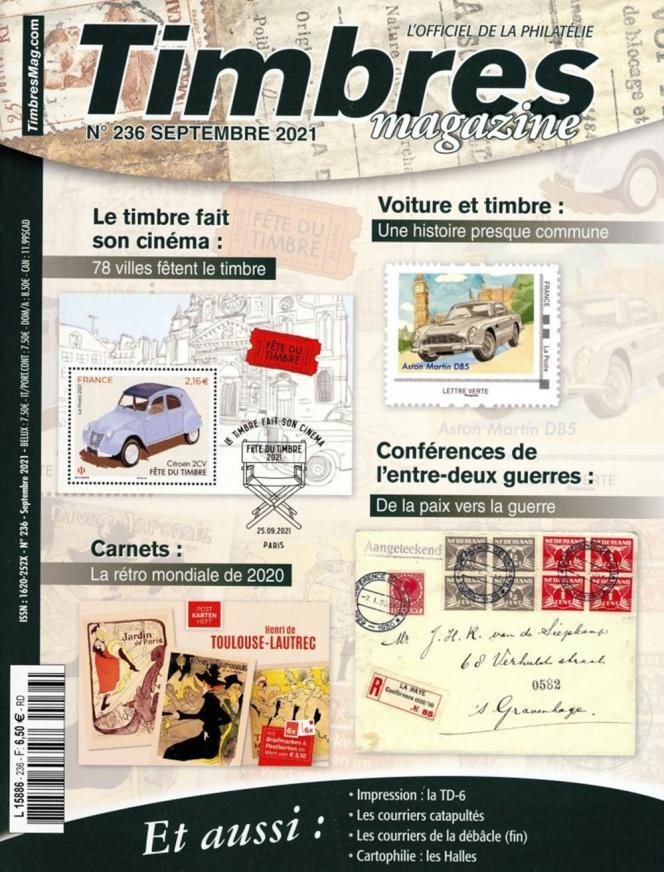 « Timbres magazine », septembre 2021, n° 236, 108 pages, 6,50 euros. En vente en kiosque, ou par correspondance (2, rue de l'Etoile, CS 79013, 80094 Amiens Cedex 3.