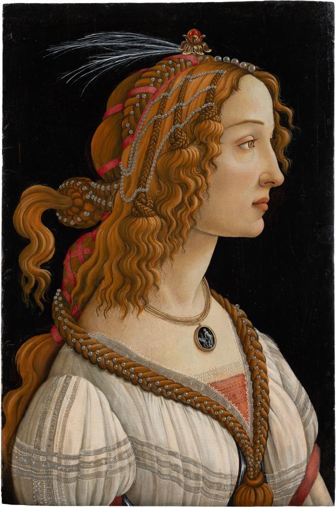 SandroBotticelli, «Figure allégorique dite La Belle Simonetta» (vers 1485). Tempera et huile sur bois de peuplier.