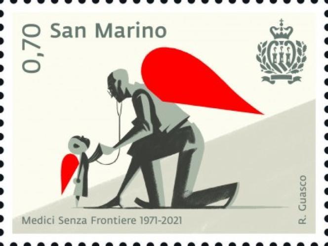 Uno de los sellos postales emitidos por San Marino con motivo del 50 aniversario de Médicos Sin Fronteras.