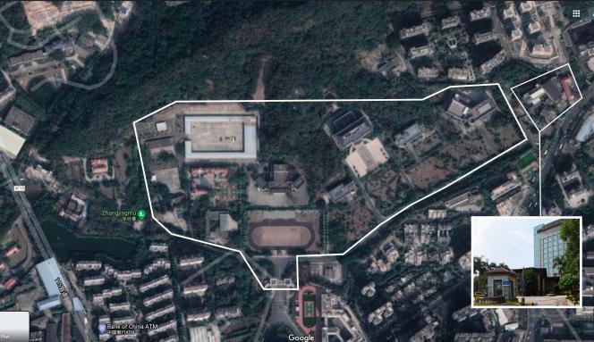 Capture d'écran de l'emprise supposée de la base 311 de l'Armée populaire de libération dédiée aux opérations d'information à Fuzou (Fujian).