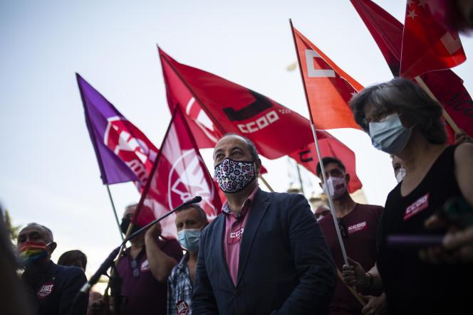 Manifestation pour l'augmentation du salaire minimum, à Madrid, le 14 juillet.