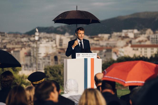Le président de la République lors de son discours de présentation du plan «Marseille en grand», au palais du Pharo, le 2 septembre 2021.