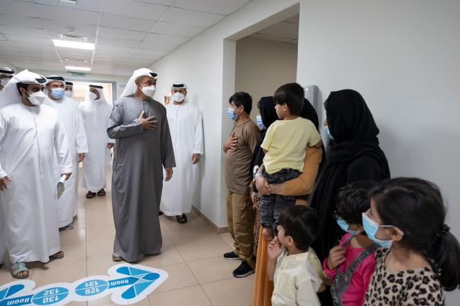 Abu Dhabi's Prince Mohammed Ben Saeed visits families expelled from Afghanistan on September 1, 2021.
