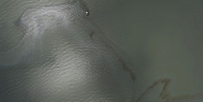 A satellite image shows an oil slick after Hurricane Ida passed near Port Fourchon, Louisiana, the United States on August 31, 2021.