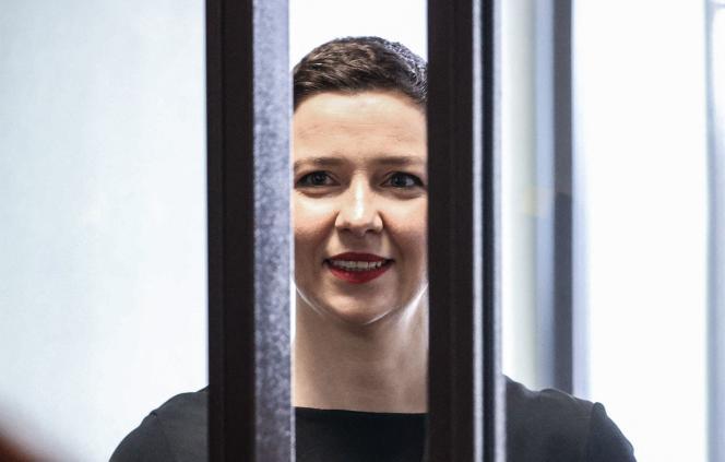 Maria Kolsnikova, no início de seu julgamento, em Minsk, 4 de agosto de 2021.