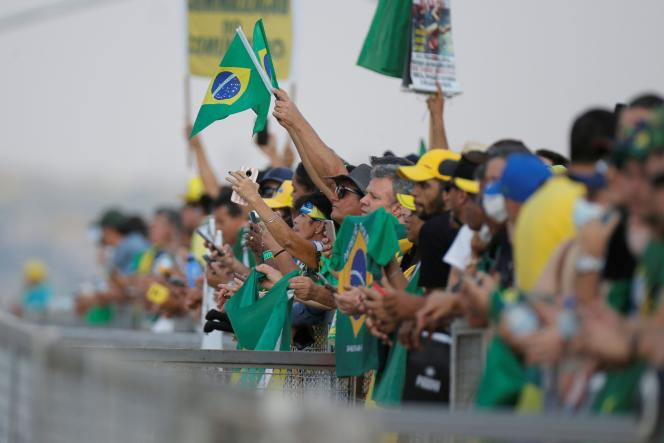 Supporters of Jair Bolsonaro, in front of the Presidential Palace of Planalto, in Brasilia, on September 6, 2021, on the eve of the protests planned for the country's national day.