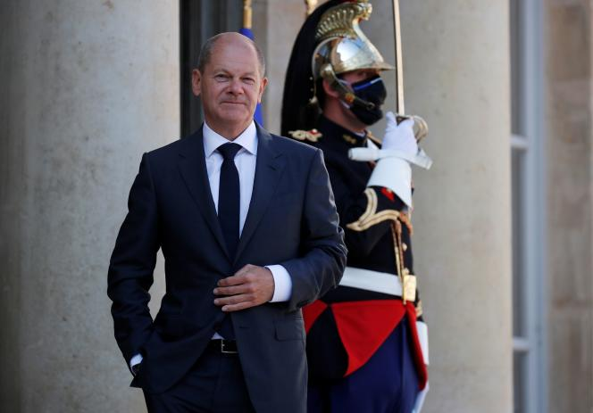 Olaf Scholz, German Minister of Finance and SPD candidate for the Chancellery, at the Elysee Palace, September 6, 2021.