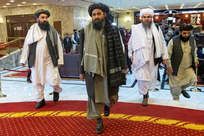 Taliban co-founder and negotiator Abdul Gani Bardar and other delegates attended the Afghanistan Peace Conference on March 18, 2021 in Moscow, Russia.