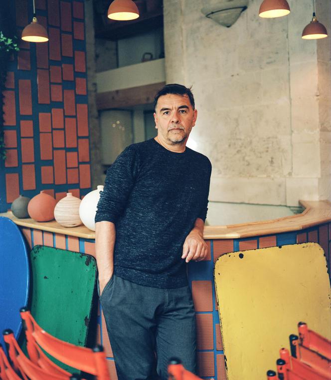 Laurent Garnier, au café LesValseuses, à Apt, enaoût.