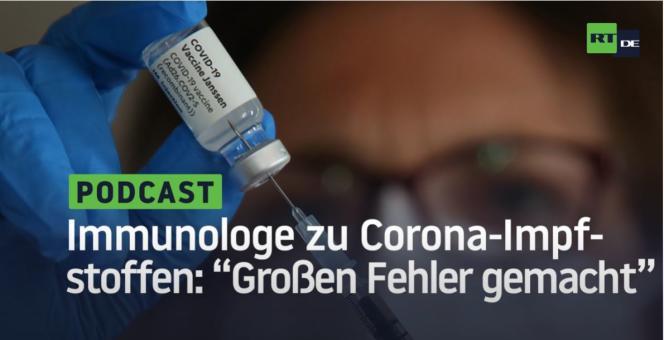 """Une vidéo de la version allemande de RT, vue plus de 800 000 fois sur YouTube :« Un immunologue sur le vaccin : """"Nous avons fait une grosse erreur""""»."""