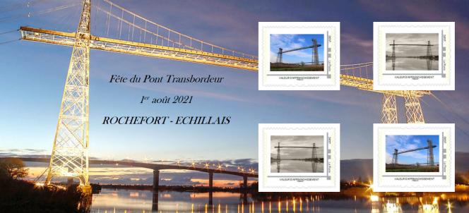Collector de quatre timbres pour la réouverture le 29 juillet du pont transbordeur de Martrou.