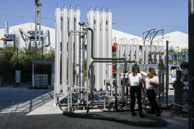 Dans le centre de recherche Engie Lab Crigen, consacré aux gaz verts, à Stains (Seine-Saint-Denis).