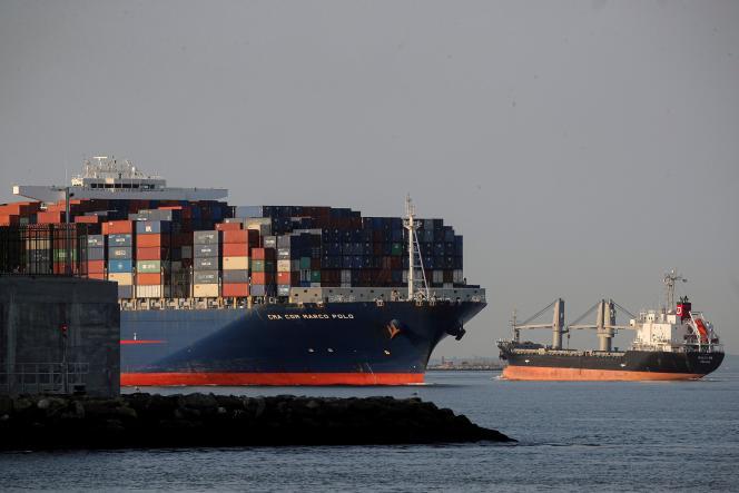 Le porte-conteneurs «Marco Polo» de CMA CGM, à New York, le 20 mai 2021.