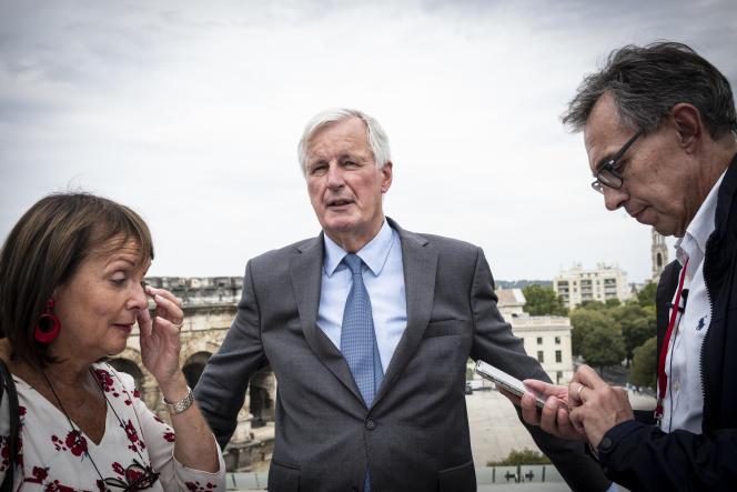 L'ex-commissaire européen Michel Barnier, aux journées parlementaires des Républicains, sur le toit du musée de la Romanité, à Nîmes (Gard), le 9septembre.