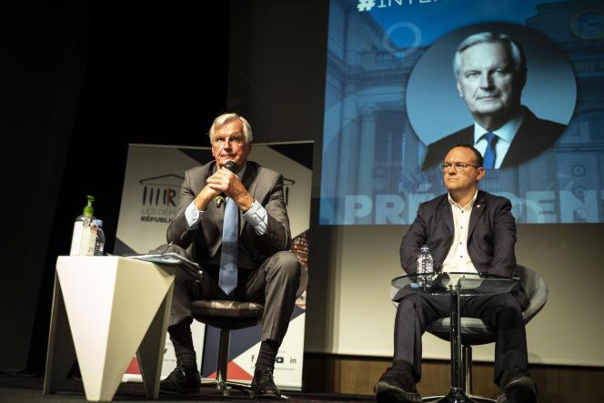 L'ex commissaire européenMichelBarnieret le président du groupeLRà l'Assemblée nationale DamienAbad à Nîmes, le 9 septembre 2021.